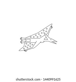 Simple line style icon of Pteranodon. Pictogram of pterosaur for coloring book and different design. Vector illustration.