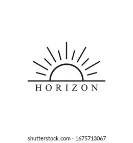 Simple line sun logo design icon vector illustration template