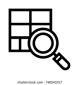 Simple line vector icon of a magnifying glass over a blueprint layout plan. Zoom in on master plan symbol isolated on white background.