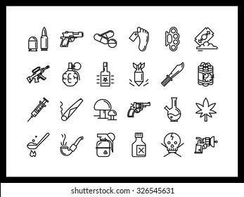 Simple linear icons. Crime, violation of the law, drug trafficking, illegal arms trade, drug addiction.