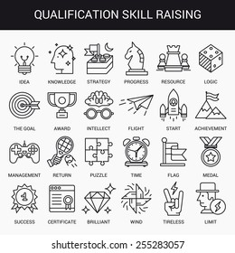 Simple linear icons in a modern style flat. Advanced Training and Skills Leveling. Isolated on white background.