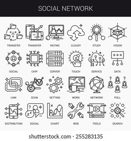 Simple linear icons in a modern style flat. The Social Network. Isolated on white background.