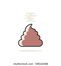 simple linear pile of shit icon. concept of insult, unclean symbol, negative joke, unhygienic, waste products, poopie, filthy. flat style trend logo graphic art design isolated on white background
