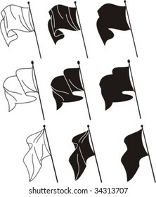 Simple linear vector flags silhouettes