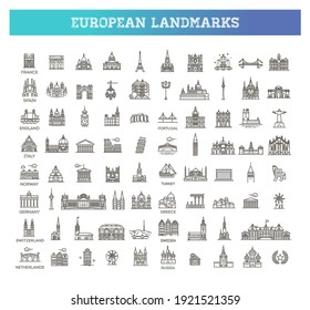 Simple linear Vector icon set representing global tourist european landmarks and travel destinations for vacations