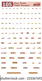 Simple linear Vector icon set representing different types of cars, trucks and public transport