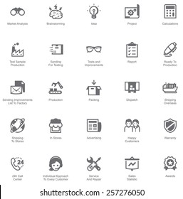 Simple linear Vector icon set representing Manufacturing and distribution industry