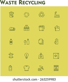 Simple linear Vector icon set representing garbage collection, separation and recycling
