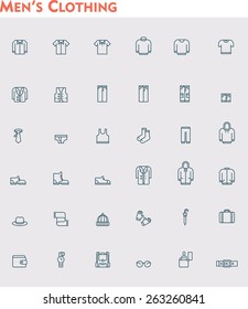 Simple linear Vector icon set representing men clothes and accessories
