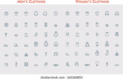 Simple linear Vector icon set representing men and women clothes and accessories