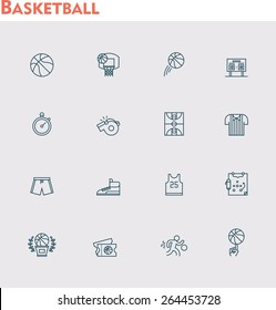 Simple linear Vector icon set representing basketball equipment, clothes, ball
