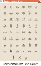 Simple linear Vector icon set representing each USA state as landmark and travel destination
