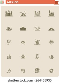 Simple linear Vector icon set representing Mexico travel destinations and Mexican culture