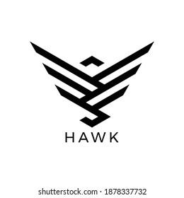 simple lines hawk logo vector