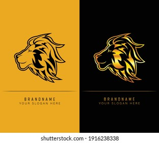 simple lion head logo. can be use as gaming logo. lion head logo design template
