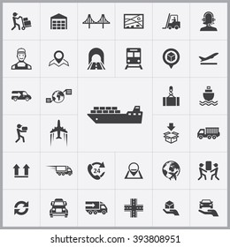 Simple logistics icons set. Universal logistics icon to use for web and mobile UI, set of basic logistics elements