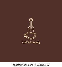 simple logo for coffee shop. Outline logotype with coffee cup and guitar