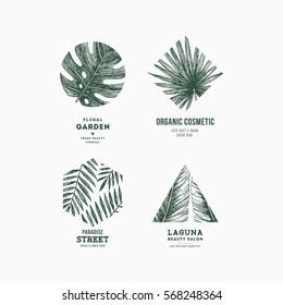 Simple logo collection. Engraved logotype set. Tropical beauty salon symbols. Vector illustration