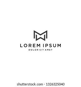 simple logo design or monogram or initial letter MW