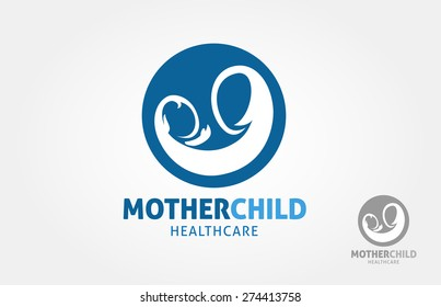 a simple logo design of mother holding a child, it's a vector logo template.