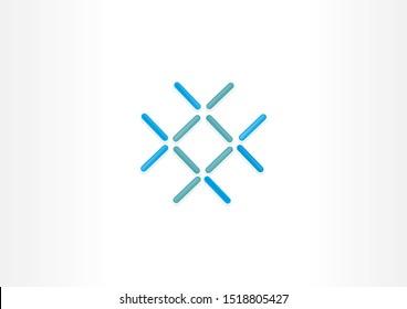 Simple logo design with shaped wire illustration. Blue shape logo design.