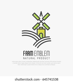 Simple logo for farm on the green hills with meadow field or brewery with wind mill in thin line style. Vector illustration.