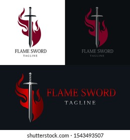 Simple logo with a flame sword vector design