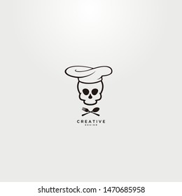 Simple logo lines that form the skull of a chef, can be used for the icon of a restaurant or the like.