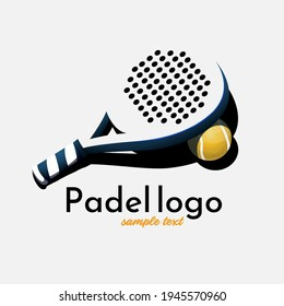 Simple logo silhouette padel racket - Representation of the silhouette of a paddle racket on a very light gray background. It can be very useful for a paddle tennis shop or a paddle club.