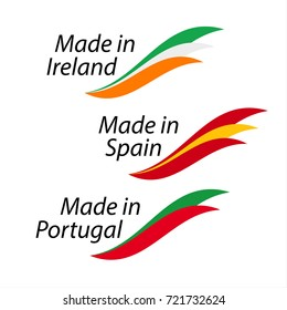 Simple logos Made in Ireland, Made in Spain, Made in Portugal, vector logos with Irish, Spanish and Portuguese flags