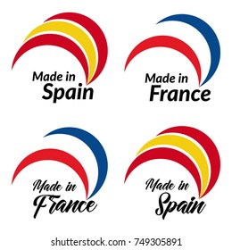 Simple logos Made in Spain, Made in France, vector logos with Spain, France flags.