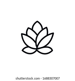 Simple lotus line icon. Stroke pictogram. Vector illustration isolated on a white background. Premium quality symbol. Vector sign for mobile app and web sites.