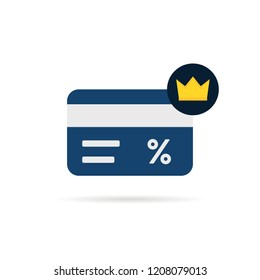 simple loyalty card with crown icon. concept of customer privilege web exclusive badge for restaurant or store. flat cartoon trend modern vip discount graphic art design isolated on white background