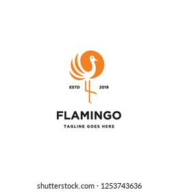 simple luxurious flamingo bird silhouette logo icon vector inspiration