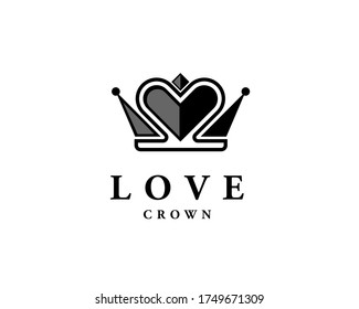 Simple luxury abstract crown love heart logo design inspiration