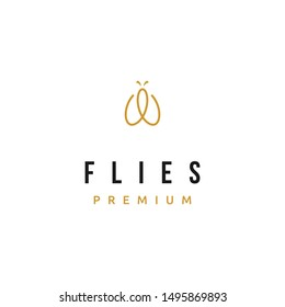Simple luxury and abstract mono line flies logo design inspiration