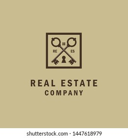 Simple Luxury Crossed key for House Estate business logo design