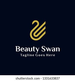 simple luxury golden Swan logo with line art concept design illustration. can be used for beauty industry, cosmetics, salon, boutique, hotel logo, jewelry icon