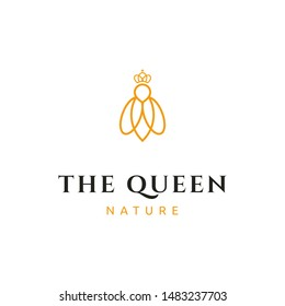 simple luxury mono line queen bee with crown logo