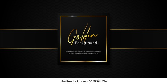 simple luxury professional paper box badge with sparkling golden square frame on wave pattern dark black background with gold ribbon decoration. vector illustration banner template design