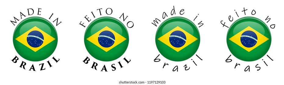 Simple Made in Brazil / Feito no Brasil (Portuguese translation) 3D button sign. Text around circle with Brazilian flag. Decent and casual font version.