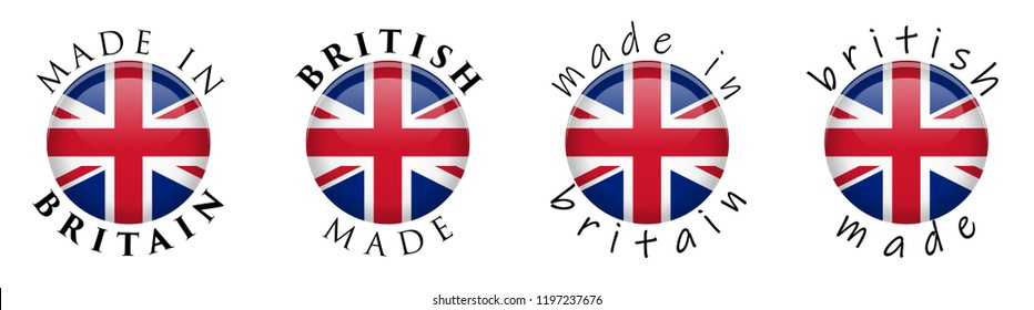 Simple Made in Britain / British 3D button sign. Text around circle with Union Jack flag. Decent and casual font version.