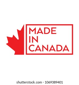 A simple made in Canada stamp with half of a maple leaf on the left side.