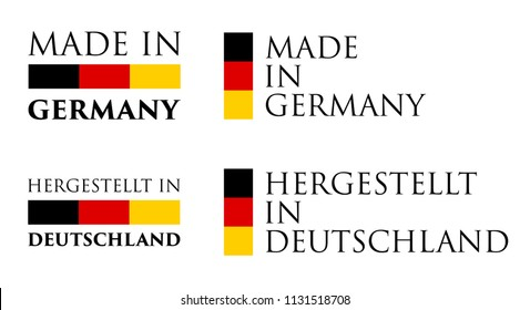 Simple Made in  Germany / (german translation) label. Text with national colors arranged horizontal and vertical.
