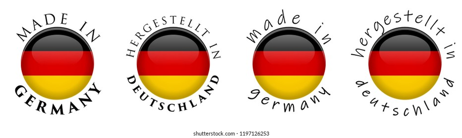 Simple Made in Germany/ Hergestellt in Deutschland (German translation) 3D button sign. Text around circle with national flag. Decent and casual font version.