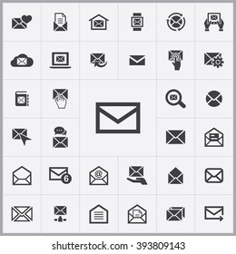Simple mail icons set. Universal mail icon to use for web and mobile UI, set of basic mail elements
