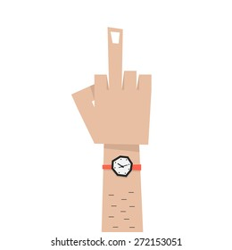 simple man hand with middle finger. concept of pointer, nonverbal, fuck you, brutal, rebel, emotional, punk, furious, lifestyle, bizarre, indecent. flat style modern eps10 design vector illustration