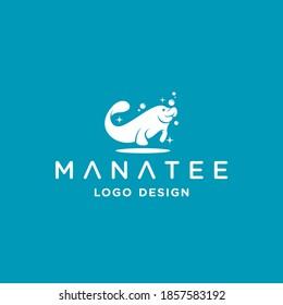 simple manatee logo design inspiration . manatee logo design template . sea wildlife icon . cleaning service logo
