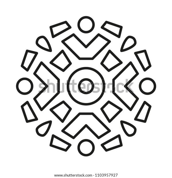 simple mandala shape coloring vector 600w