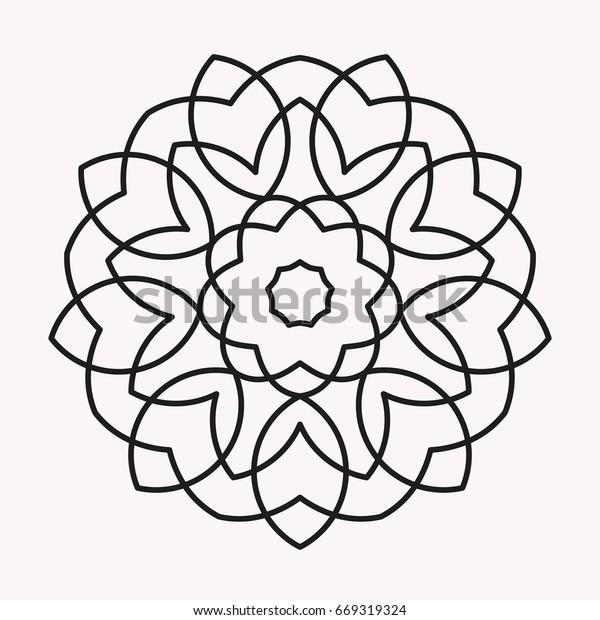 Boyama Basit Mandala Mandala Kitap Anahat Stok Vektör